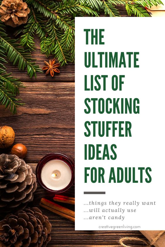 These are some of the best stocking stuffer ideas I've seen - for stuff people actually want! Lots of good ideas for men, too. All the ideas are things that aren't junk and things people will actually like and use. No candy, either! #creativegreenchristmas #creativegreenliving #stockingstuffer #gifts #giftideas #christmasgiftideas #stockingstufferideas