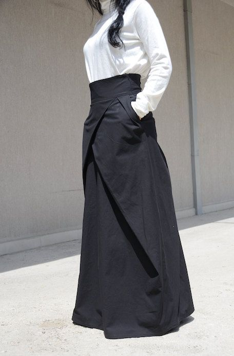 Elegant and chic Long womens extravagant long high waist skirt Style with 2 side Pockets Perfect for day time or the evening. Comfortable loose fit - looks great on everyone. Different sizes available XS,S,M,L,XL,XXL,3XL... PLUS SIZES AVAILABLE Please, see the Body measures in Policies, Additional Information Please send me your exact measurements and this extravagant skirt will be made to fit you. TIPS ON TAKING YOUR MEASUREMENTS: BUST. Wrap a soft tape measure around your bust. It...