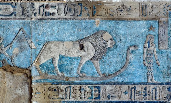 [EGYPT 29590] 'Leo on astronomical ceiling at Dendera.' A lion standing on a snake portrays the zodiac sign Leo on the astronomical ceiling in the outer hypostyle hall of the Hathor Temple at Dendera. The ceiling consists of seven separate strips but here we are looking at a detail of the upper register of the WESTERNMOST STRIP. Leo is one of the six zodiac signs depicted in the entire westernmost strip (see picture 29585 till 29590) and the other six can be found o...