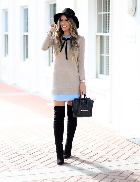 Sweater Dress & Over The Knee Boots – Styled Adventures