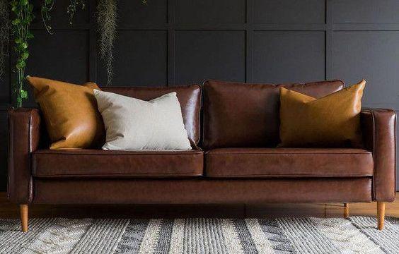 Sofa da thật tphcm với tông màu nâu sang trọng, đẳng cấp