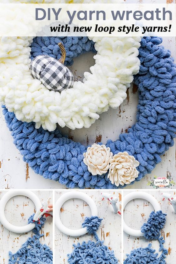 DIY this yarn loop wreath with the new Bernat Blanket EZ yarn from JOANN! It's a simple 10 minute DIY that you can make for your fall decor quick and easy, no crocheting or knitting required! #DIY #handmadewithjoann #ad