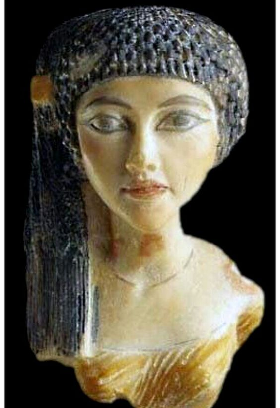 Egyptian Pharaoh Akhenaten's daughter~ Sculptured bust ~ Made of polymer ~ This daughter of Akhenaten ~ indentified as Ankh -en-pa-Aton is cleverly painted in stylized elegance New Kingdom ~ 18th Dynasty ~ Around 1345 BC.