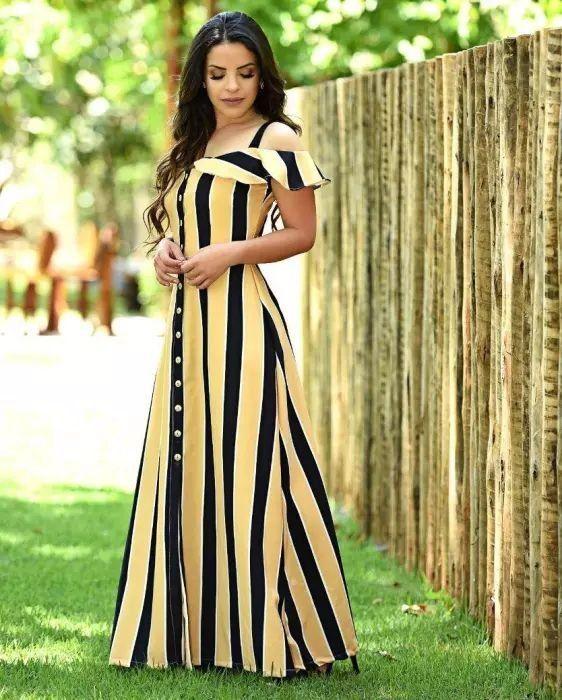 Vestido Longo Chemise Botões - Moda Evangélica - Flor de Amêndoa