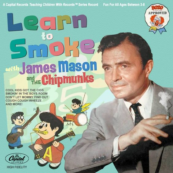 Album Cover - Learn to Smoke with James Mason and the Chipmunks - Parody by Dean Hostager - awkward bad fun funny humor humorous picture photo parody old vintage comedy lp record learning smoke smoking bozo
