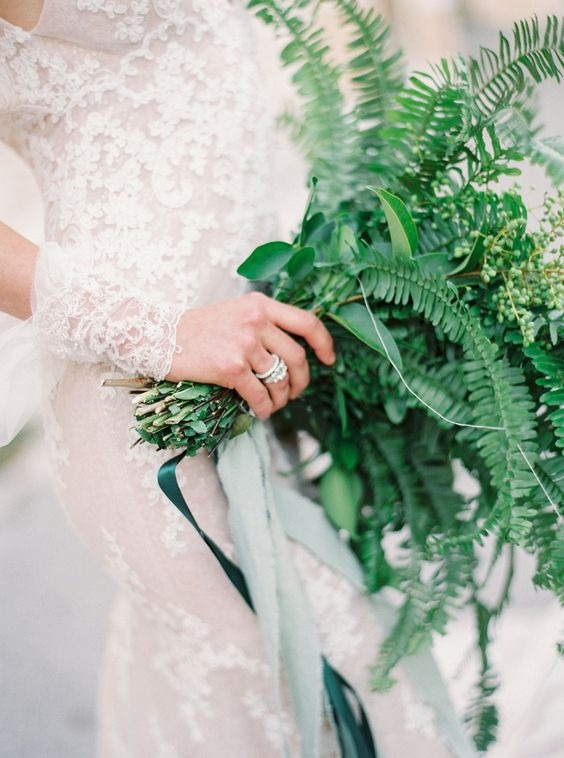 wedding ring and all greenery bouquet