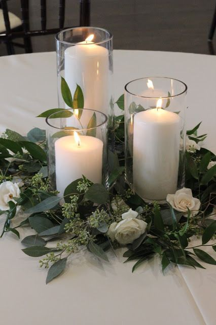 Greenery and Candles Centerpieces