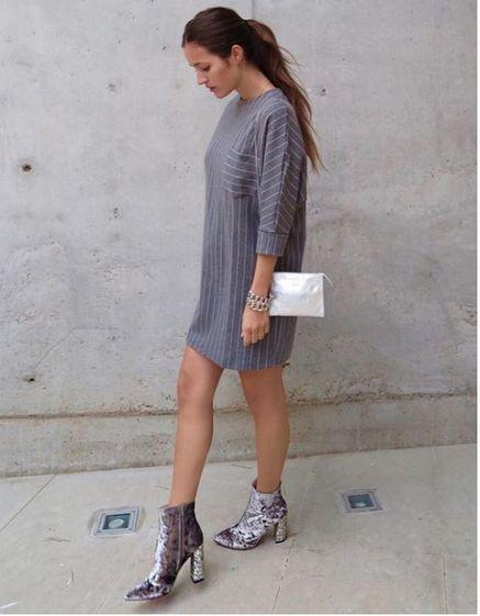 Malena Costa con botines de terciopelo y tacón glitter de Lolita Blu #ChicasLolitaBlu