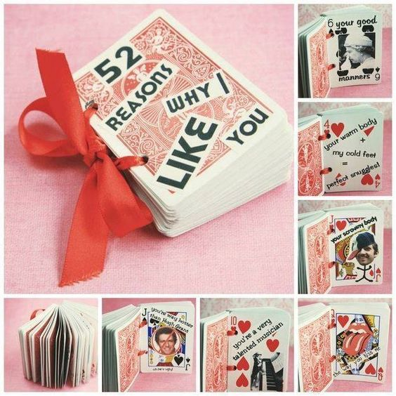 """52 reasons why I like you"" - creative keepsake gift made with poker cards - 18 Sweet DIY gift ideas for him - TodayWeDate.com"