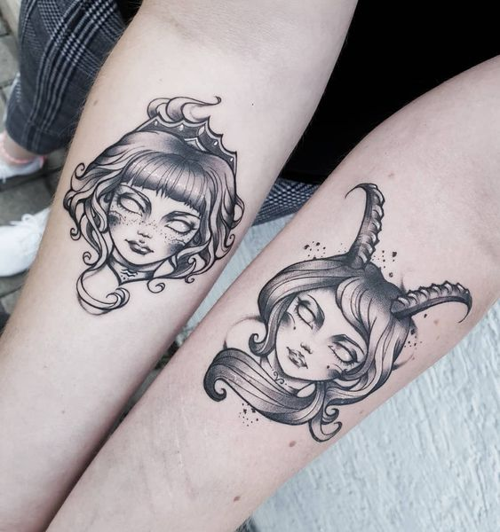 Capricorn and Aquarius tattoos
