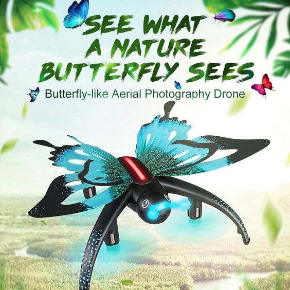 Introducing this fantastic UAV with unique butterfly design, vivid and delicate workmanship just like a real butterfly flying in the sky. Also, equipped with 0.3MP FPV Camera. This butterfly drone is ready to give it a full shot to reinvent your vision from a new prospective. Hesitate for what? Take this little cute drone home! Features: - Innovative selfie drone, 0.3MP camera allows you to get great selfies effortlessly. - 3D flips, headless mode and flight plan function provide a stunt aerial show. - The G-sensor mode enables the small quadcopter to automatically follow the way you move your smartphone. - Wifi real-time transmission FPV system which can take photos and record videos for your great memory. - Built-in barometer with altitude hold function provides stable flight. - One-key return for more secured flight. - With voice control to fly under your orders. Specifications: - Built-in Gyro: 6 Axis Gyro - Channel: 4CH - Remote Control: WiFi Remote Control / 2.4G Remote Controller - Material: ABS&electric components - Motor Type: Coreless motor - Control Distance: About 80m - Image Transmission Distance: About 30m - Battery: 3.7V 600mAh lipo battery - Flying Time: about 6mins - Charging Time: about 45mins - Controller Battery: 2 * AA (not included) - Camera: 0.3MP - Product weight: 67g - Product size: 12.6 * 12.6 * 5cm Note: This model is not a toy and is not suitable for children under 14 years old. Carefully read the instruction before any use, if you are a beginner, it's advisable to be assisted by an experienced adult. Package information: Package size: 17 * 17 * 10.3cm / 6.7 * 6.7 * 4in Package weight: 327g / 11.5oz Gift box package Package list: 1 * JJR/C H42 Quadcopter 1 * Transmitter 1 * 3.7V 600mAh Li-Po Battery 1 * USB Charger 1 * Phone Holder 4 * Spare Propeller 1 * Wrench 1 * Screw Driver 1 * English Manual