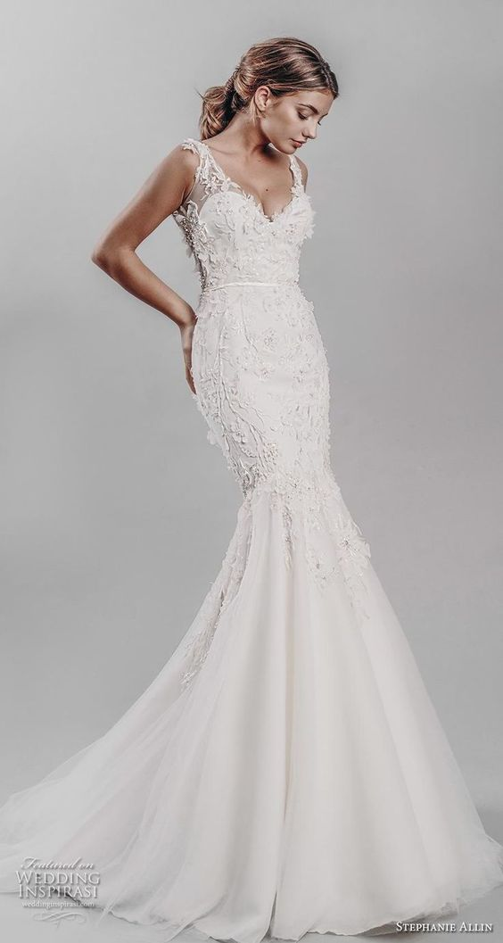 stephanie allin 2019 bridal sleeveless v neck heavily embellished bodice elegant mermaid wedding dress v back medium train (15) mv -- Stephanie Allin 2019 Wedding Dresses | Wedding Inspirasi #wedding #weddings #bridal #weddingdress #bride ~
