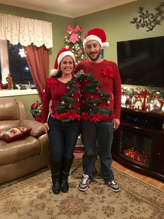 Couples Christmas Sweaters.33 Hideous And Fun Christmas Matching Ugly Sweater Ideas For