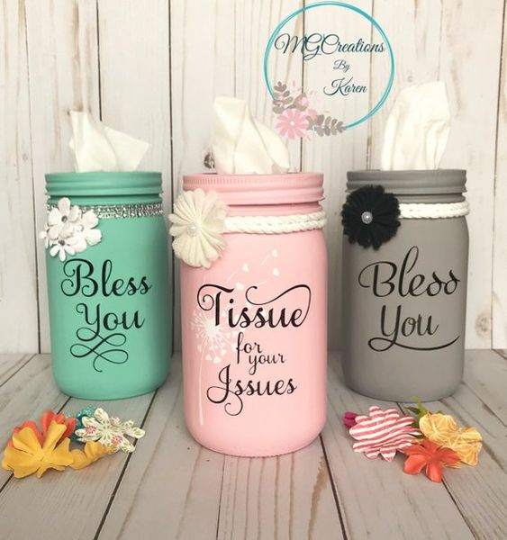 Mason Jar Tissue Holder, Tissue Holder, Bless You Mason Jar, Kleenex Holder, Bathroom Decor, Bathroo
