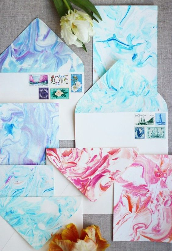 paper marbling diy valentines cards