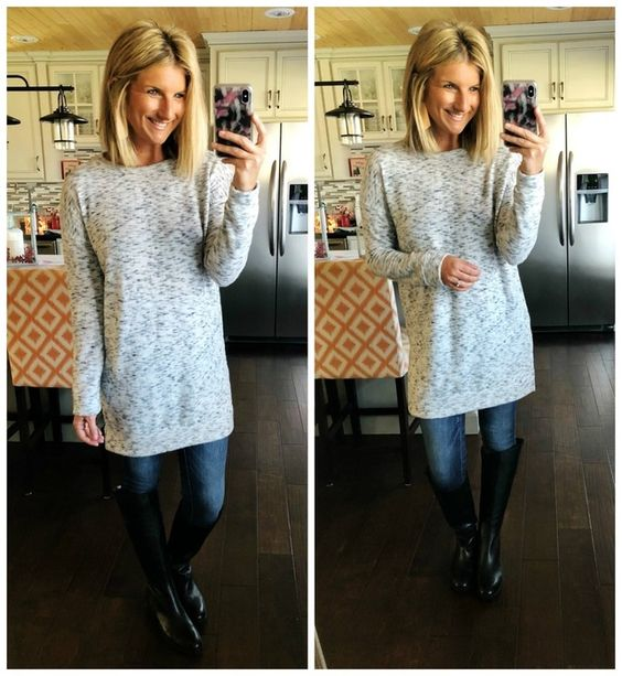Grey Tunic + Jegging + Tall Black Boots