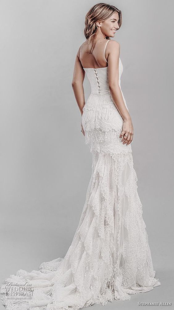 stephanie allin 2019 bridal sleeveless spaghetti strap sweetheart neckline full embellishment layered skirt bohemian romantic a  line wedding dress short train (12) bv -- Stephanie Allin 2019 Wedding Dresses | Wedding Inspirasi #wedding #weddings #bridal #weddingdress #bride ~