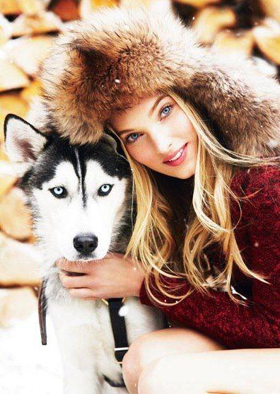 Princess and husky, Russian beauty, Russian girl, winter, fur, dog