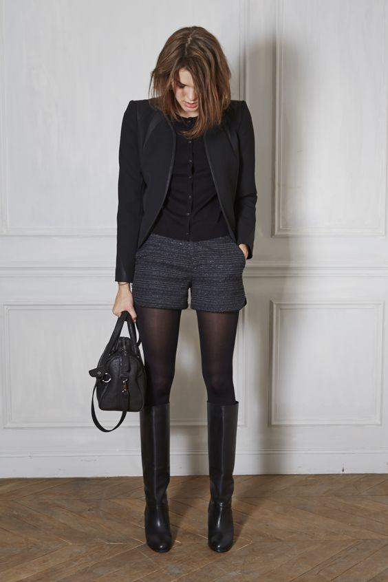 Espectacular #outfit monocromático con nuestras Tights Opacas, shorts y botas. Ideal para la oficina. #lookoftheday