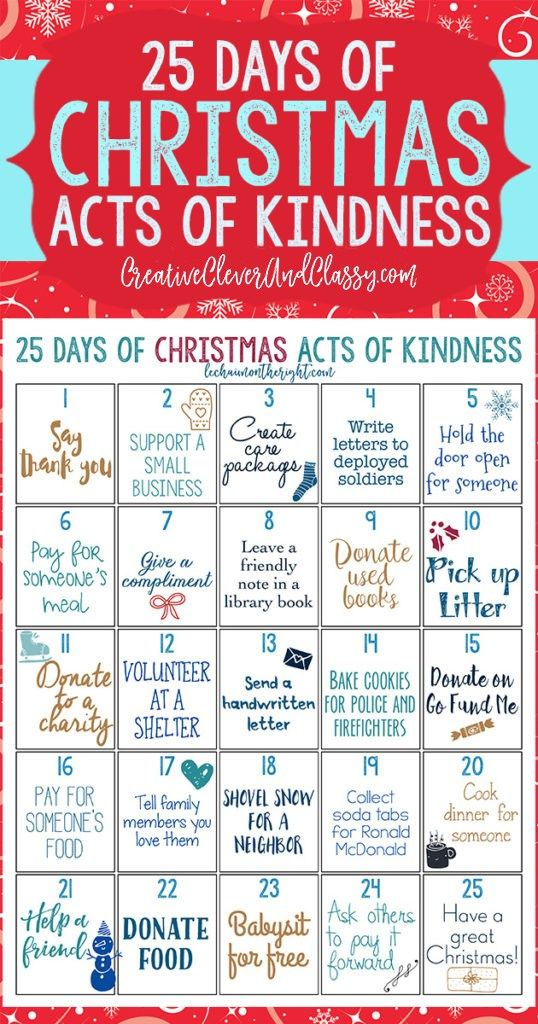 Get into the Christmas spirit of giving with this 25 days of Christmas acts of kindness challenge! Teach kids about giving and serving while doing a Christmas countdown.