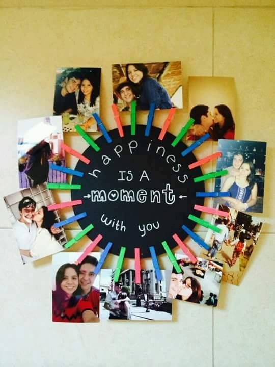 Happiness is a moment with you - DIY photo wheel for boyfriend - 18 Sweet DIY gift ideas for him - TodayWeDate.com