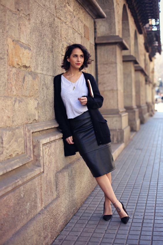 ENERO-falda-lapiz-tubo-piel-cuero-negra