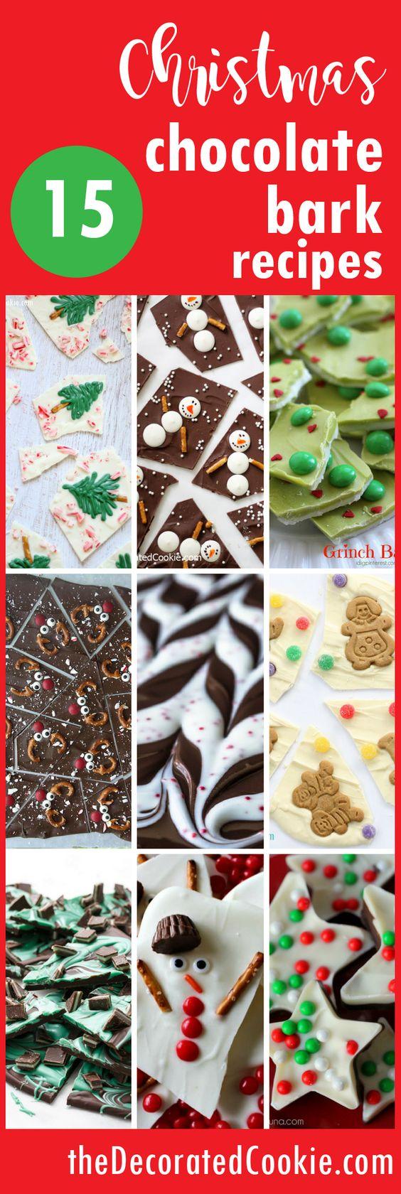 easy chocolate bark ideas for Christmas, great homemade gift idea