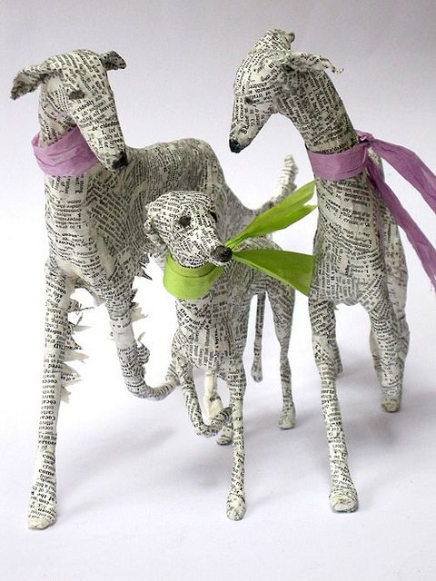 Lorraine Corrigan of Hounds of Bath in England works with wire, papier mâché, and old book pages to capture the delicate features of sighthounds.