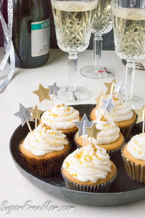 Low Carb Sugar-Free Sparkling Champagne Cupcakes