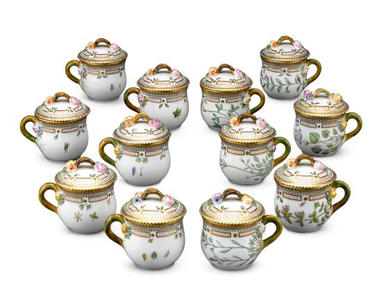 Royal Copenhagen Flora Danica Cups, each piece features a native flower or fruit of Denmark - Danish Porcelain Lidded Cups with Flowers     & Fruit - Cups w/ Lids