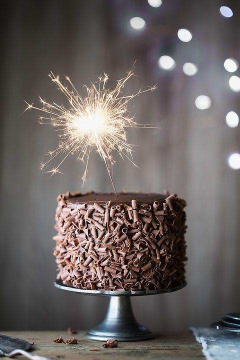 Chocolate cake with sparkler