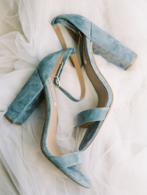 Light blue velvet high heels photographed by Alex Thornton Photography | The Pink Bride®️️ www.thepinkbride.com