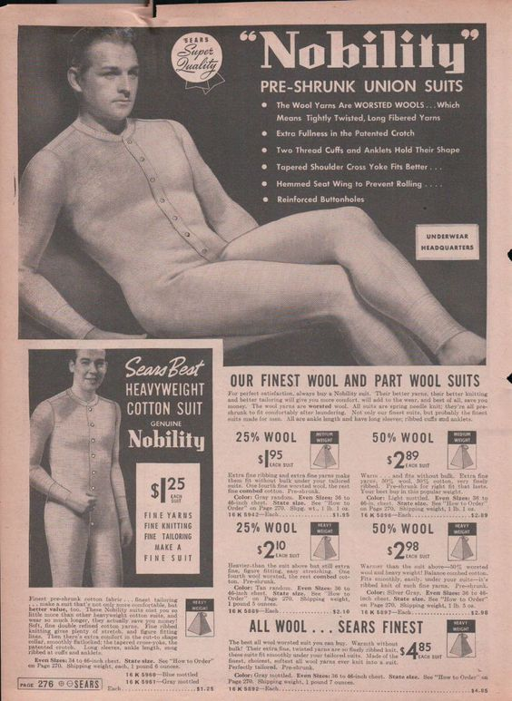 1938 Print Ad Nobility Pre Shrunk Union Suits for Men Wool and Part Wool www.advintageplus.com