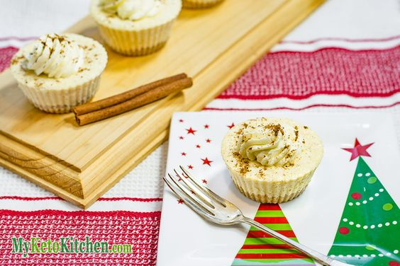 Low Carb Eggnog Cheesecakes