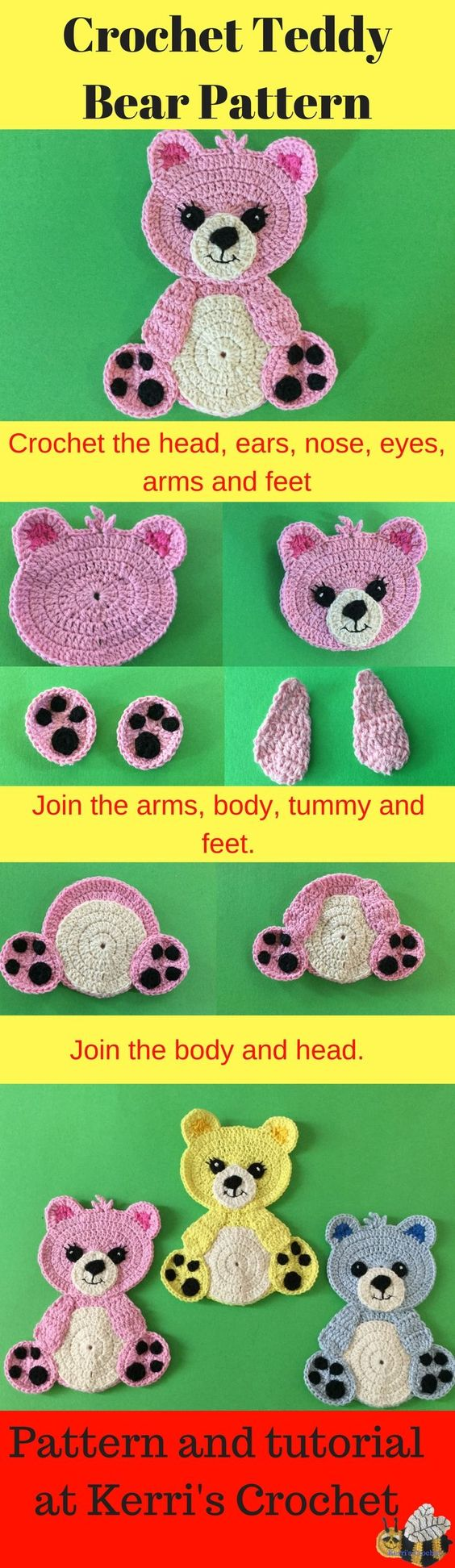 Lovely Teddy Bear Amigurumi Tutorial – Knitting School in 2020 ... | 1944x564