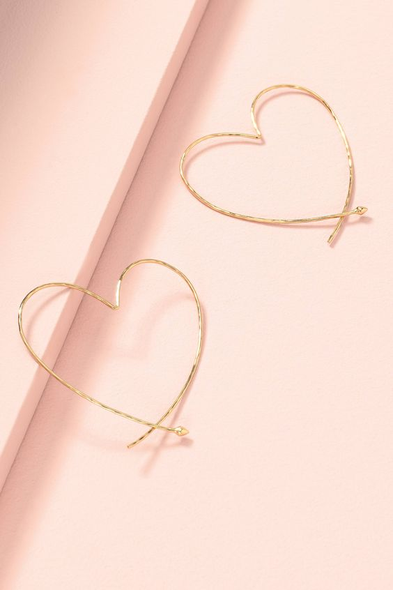 Essential Hammered Heart Hoops - Gold | Stella & Dot