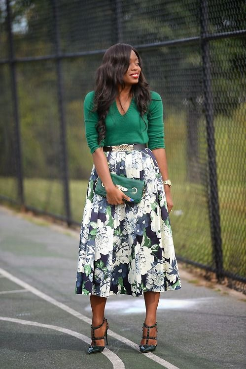 Ecstasy Models | Green and floral outfit #modestfashion