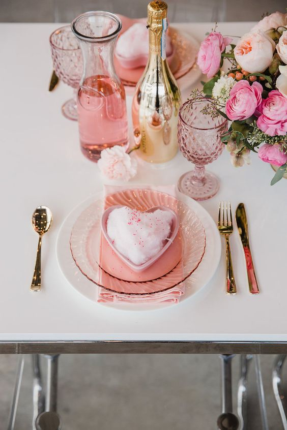 Valentine's Day Table Setting from a Galentine's Day Valentine Brunch on Kara's Party Ideas | KarasPartyIdeas.com (10)
