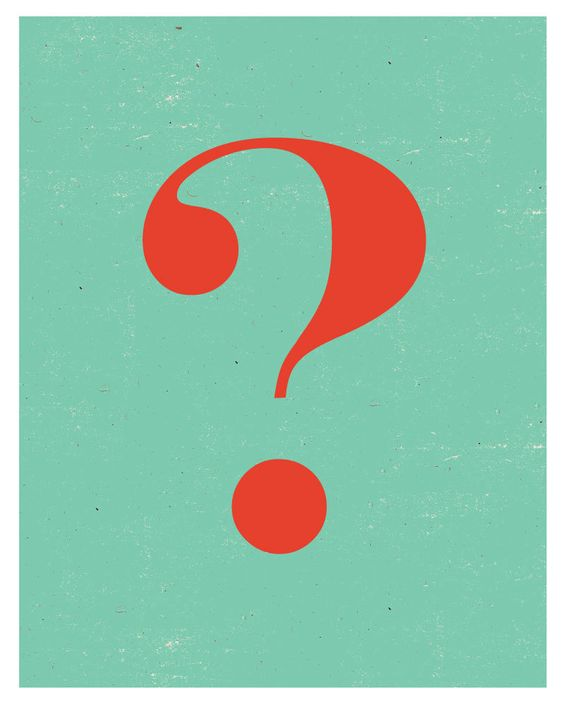 Question Mark: Simplistic and minimalist design. Content is only a question mark presented in a formal like typeface. Contrasting colour combinations consisting of a light blue  (hint of green) and orange. texture overlay applied to give a decompositional look. graphic poster not supported by text or any information.