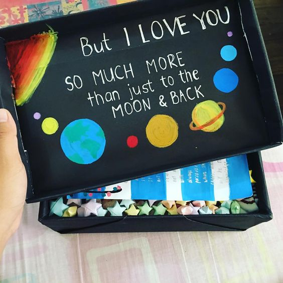Send a DIY care package with a heartwarming quote on top - gift for long distance relationship