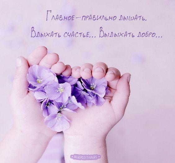 в руках цветы - Главное-правильно дышать.Вдыхать счастье. Выдыхать добро