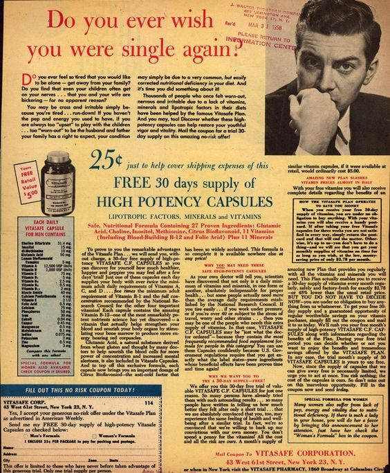 Vitasafe Corporation's Vitasafe C. F. Capsules – Do you ever wish you were single again? (1958)