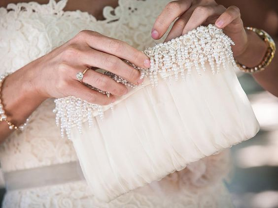 Silk bridal clutch with pearl details-made from mom's wedding dress