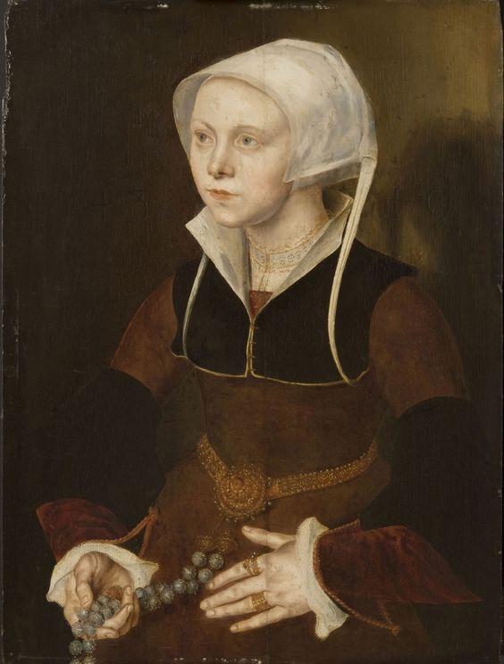 1548, Portrait of a Nineteen-Year-Old Woman; Follower of Maarten van Heemskerck, Netherlandish (active Haarlem and Rome), 1498 - 1574; Philadelphia Museum of Art - Collections Object : Portrait of a Nineteen-Year-Old Woman