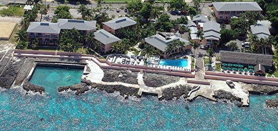 Aerial of Sunset House and Grand Cayman