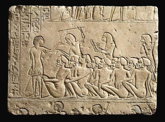 Relief with prisoners Nubians controlled by Egyptian soldiers, XVIII dynasty, reign of Tutankhamun (1333 - 1323 BC), Limestone. Height: 62,5cm, width: 85cm. Collection Palagi, already Nizzoli.