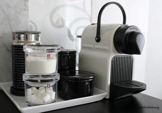 La Dolce Vita Blog / Nespresso Inissia / Black and white kitchen details