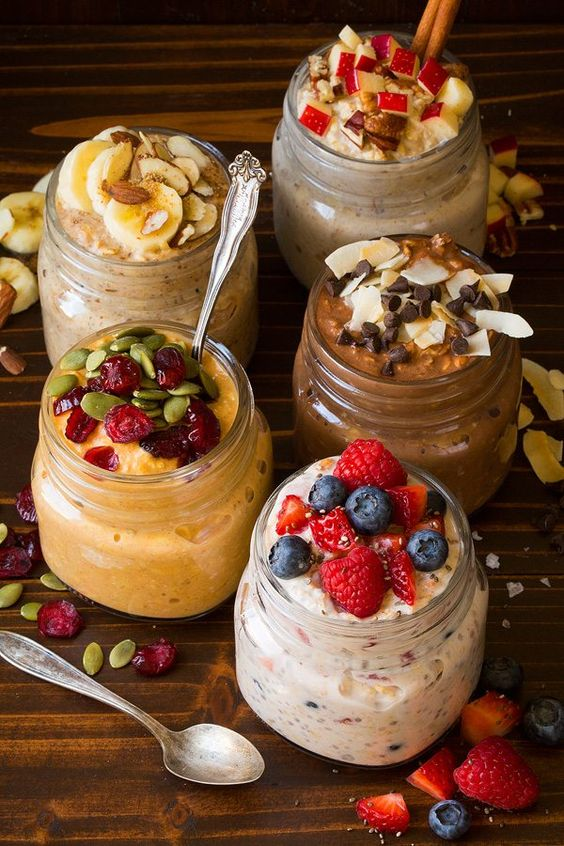 Easy, nutritious breakfast! Learn how to make overnight oats by soaking rolled oats in milk and yogurt overnight. Includes base recipe plus 5 of the best overnight oats mix-in recipes!