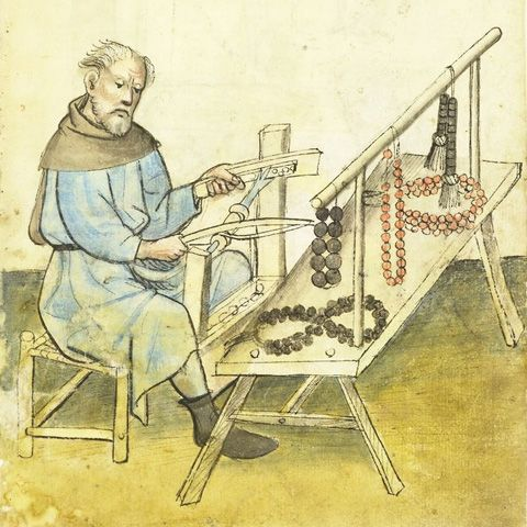 """Medieval rosaries were frequently made from bone beads. The [above picture shows] the making of wooden or bone paternoster beads: The beads were drilled from cheap animal bones. Many leftovers of the bone bead production were found in Konstanz."""