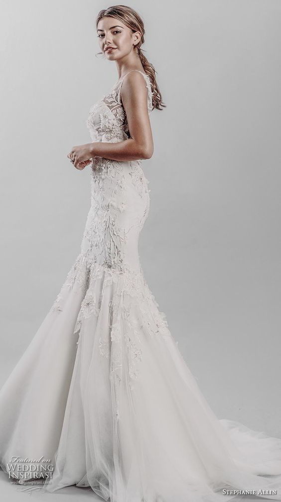stephanie allin 2019 bridal sleeveless v neck heavily embellished bodice elegant mermaid wedding dress v back medium train (15) sdv -- Stephanie Allin 2019 Wedding Dresses | Wedding Inspirasi #wedding #weddings #bridal #weddingdress #bride ~